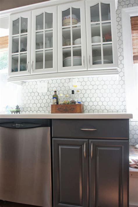 gray backsplash white cabinets remodelaholic gray and white kitchen makeover with