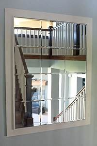 large custom mirror made of beveled mirror tiles With kitchen cabinets lowes with mirrored frame wall art