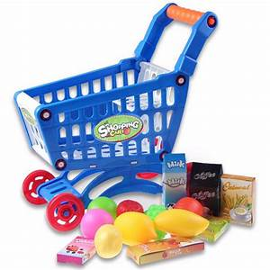 Mini Shopping Cart With Full Grocery Food Toy Fun Prentend ...