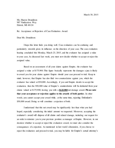 Letter to Donaldson - Case Evaluation Settlement