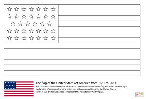 Coloring Flag by Us Flag With 34 1861 1863 Coloring Page Free