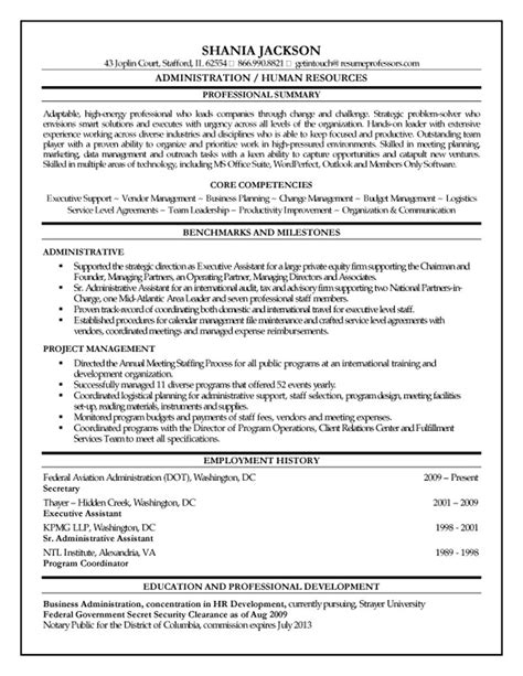 Human Resource Management Objective For Resume by 10 Human Resources Executive Resume Writing Resume Sle Writing Resume Sle