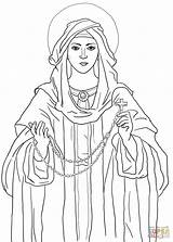Rosary Coloring Lady Pages Catholic Clipart Printable Sheets Holy Heart Blessed Mother Sacred Mary Fatima Colour Divine Mercy Church Religious sketch template