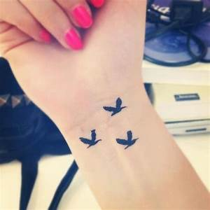 3 Little Birds Tattoo On Wrist For Girls | Tattooshunt.com