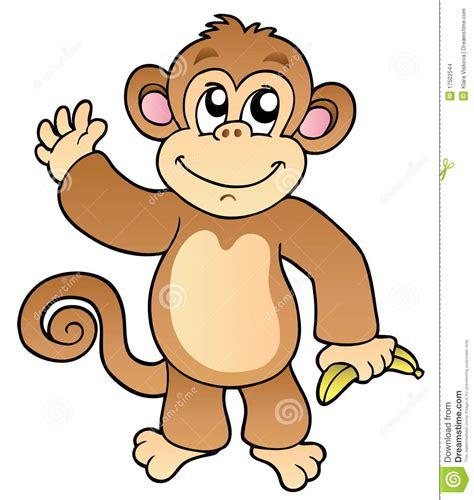waving monkey with banana stock vector illustration of mammals isolated 17502544