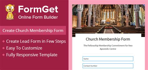 create church membership form  church committee formget