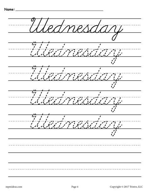 7 Free Cursive Handwriting Worksheets  Days Of The Week! Supplyme