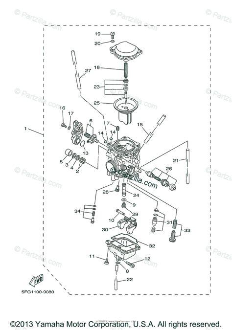 Yamaha Motorcycle Oem Parts Diagram For Carburetor