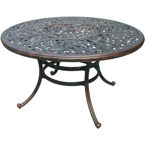 cast aluminum patio table darlee series 80 52 inch cast aluminum patio dining table