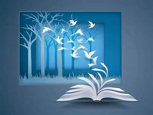 Open book with bird flying from it, paper pages change to ...