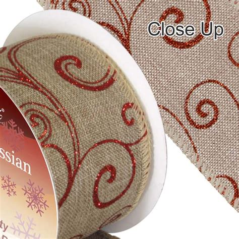 hessian ribbon wired edge red filigree the essentials