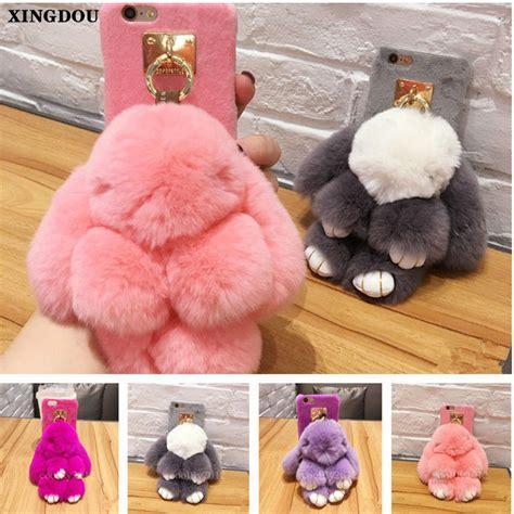 xingduo fashion warm soft rabbit fur plush cover for iphone 7 7plus 6 6s 6plus 6s