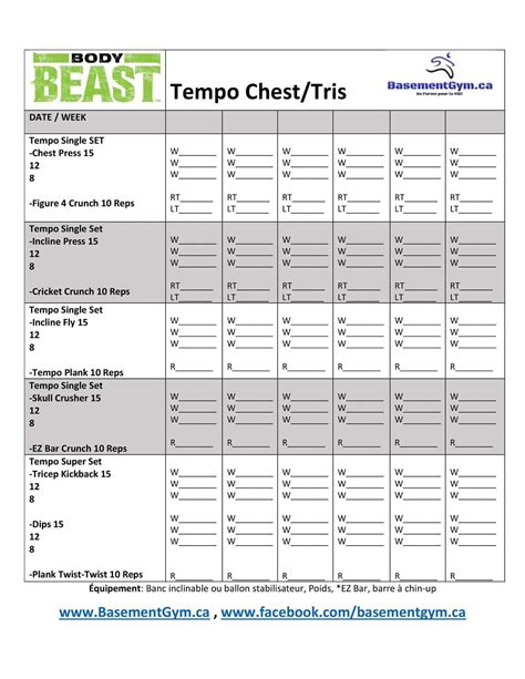 beast tempo chest and tris workout eoua