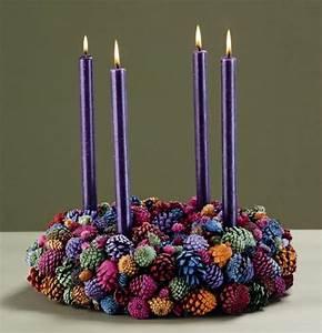 Türkranz Winter Modern : t rkranz weihnachten lila kerzen weihnachtsdeko farbige tannenzapfen x mas pinterest ~ Whattoseeinmadrid.com Haus und Dekorationen
