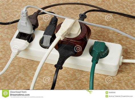 Overloaded Extension Cord Stock Photo Image  Multiple