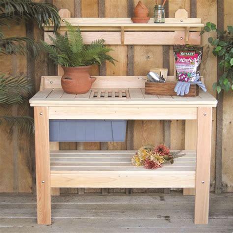 wooden potting bench garden table   usa