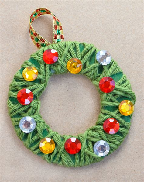 christmas wreath crafts for kids yarn wrapped wreath ornaments what can we do with paper and glue