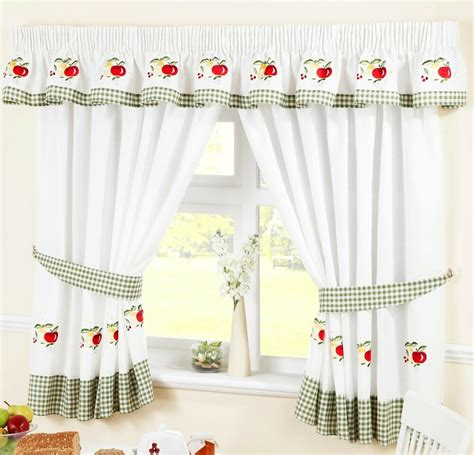 fruit colourful green voile cafe net curtain panel kitchen