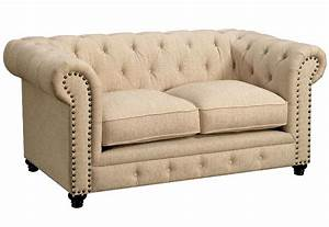 Stanford, Traditional, Button, Tufted, Sofa, U0026, Loveseat, Set, Ivory, Fabric, Upholstery