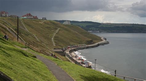 Hill top view of Whitby West Cliff Beach | Whitby, Beach ...