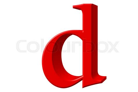 Lowercase Letter D, Isolated On White, With Clipping Path