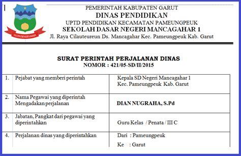 Surat Perintah Perjalanan Dinas by Contoh Format Surat Perintah Perjalanan Dinas Sdn