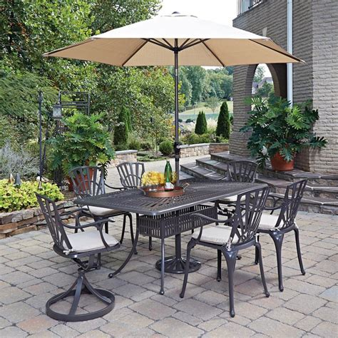 7 Patio Dining Set With Umbrella by Home Styles Largo 7 Patio Dining Set With Umbrella