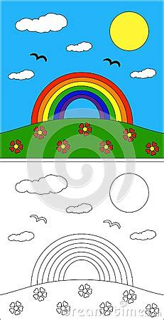 rainbow coloring page royalty  stock photography image