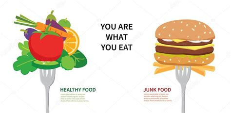 cuisine concept 2000 healthy food and junk food stock vector kaisorn4 56423401