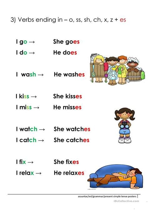 person present simple rules worksheet  esl