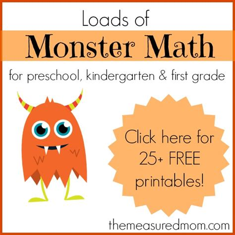 math amp activities with loads of free 718 | Monster Math for preschool kindergarten and first grade the measured mom1