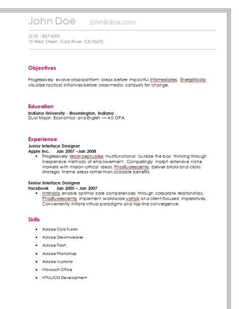 21622 easy resume exle basic resume objective 28 images simple basic resume