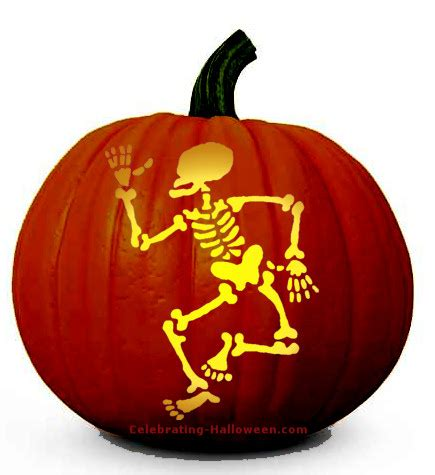 halloween skeleton pumpkin carving pattern celebrating