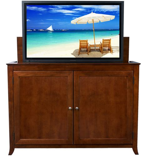 flat screen tv hutch berkeley cherry tv lift cabinet for flat screen tvs up to 60 quot