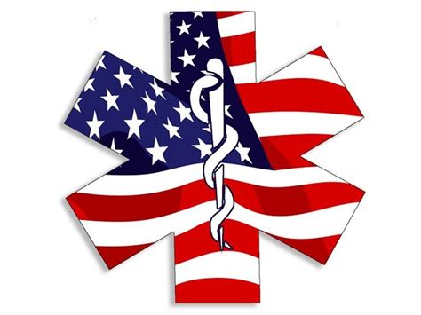 4x4 Inch American Flag Emt Star Of Life Sticker