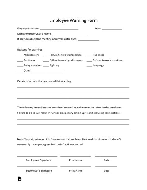 employee written warning template free free employee warning notice template pdf word eforms free fillable forms