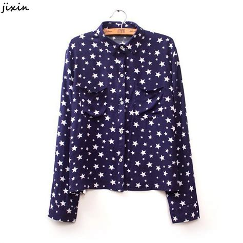 s shirts and blouses fashion clothes pointed print blue shirt