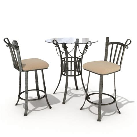 bistro set table and chairs 3d model cgtrader