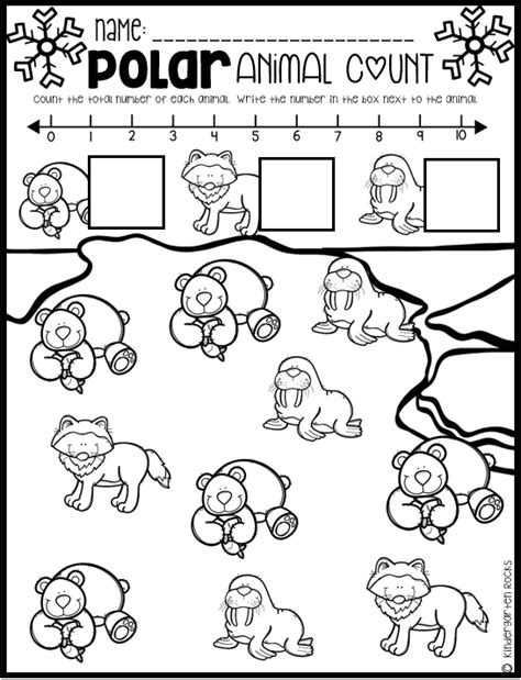 Polar Animal Math And Literacy Worksheets For Preschool (january)  Winter Kindergarten