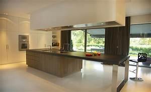 cuisine ouverte et ilot central bois guillaume da silva With salle À manger contemporaine avec cuisine aménagée en u