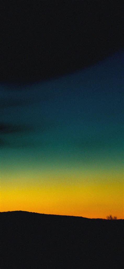 Orange Sky Wallpaper Iphone by Orange Green Sky Sunset Nature Iphone X Wallpaper