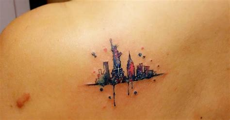 watercolor style  york skyline tattoo   left