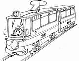 Coloring Electric Trains Tram sketch template