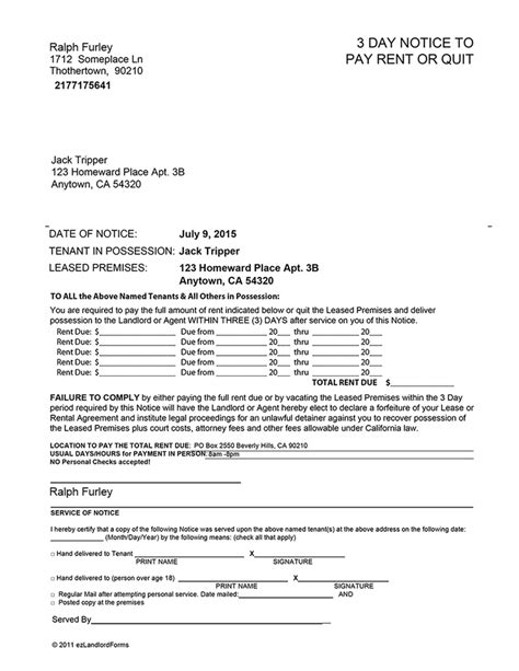california 3 day notice to pay or quit ez landlord forms