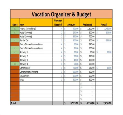 vacation budget template  sample