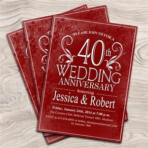 40th wedding anniversary digital printable invitation With 40th wedding anniversary invitations