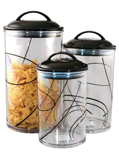 clear canisters kitchen 3 corelle clear acrylic canister set see thru storage jars