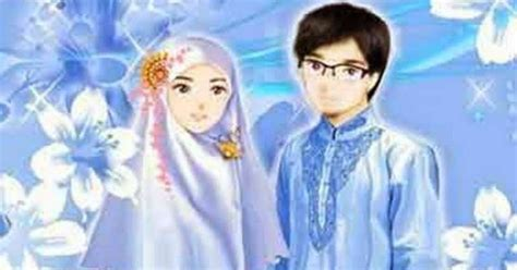 kartun pasangan muslim  muslimah anak cemerlang