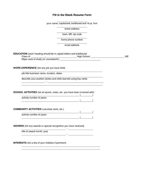 20140 fill in the blank resume template fill in the blank resume lifiermountain org