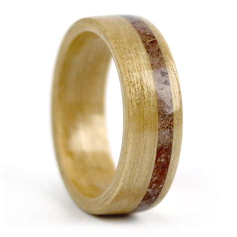 wooden wedding ring birthwood ring birch with garnet inlay simply wood rings 1492